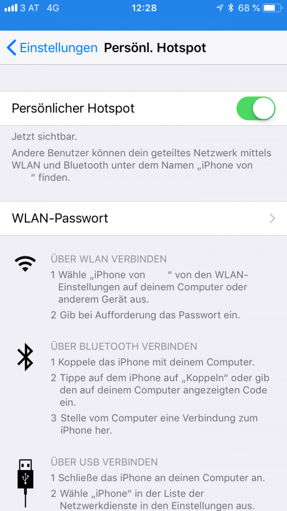 iPhone Hotspot unterwegs