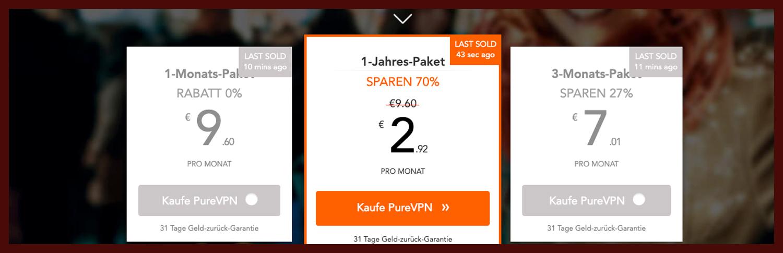 VPN Preise bei PureVPN